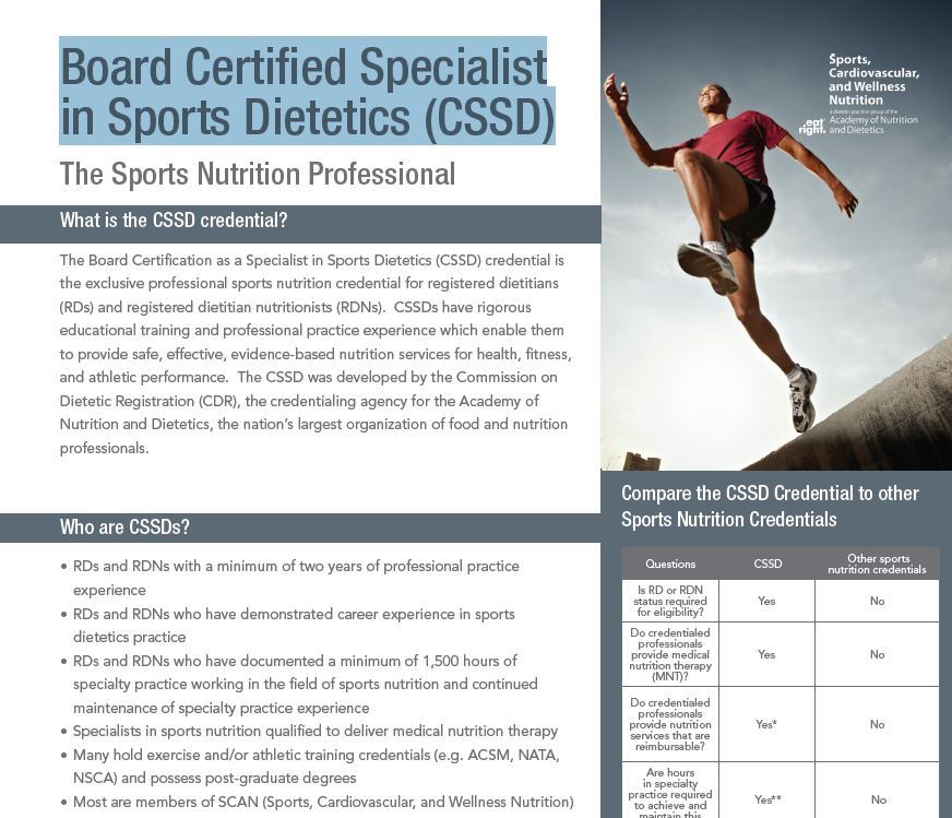 Sports Nutrition Fact Sheets